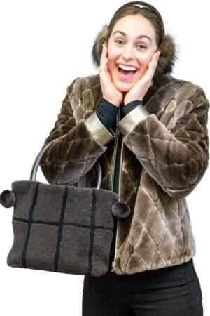 Shearling Handbag with Leather