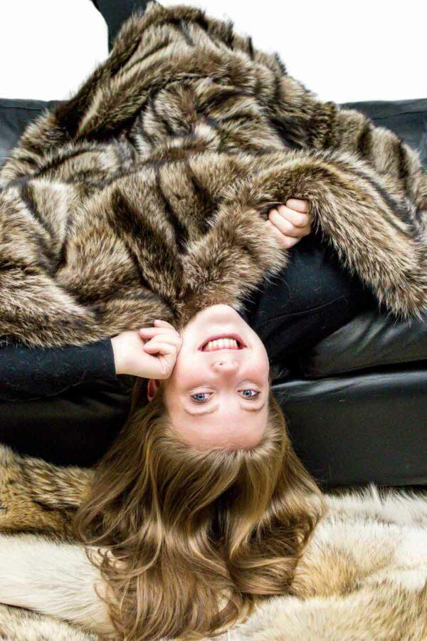 Raccoon Upcycled Fur Throw