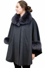 Loro Piana Fine Wool Cape with Fox Fur Trim
