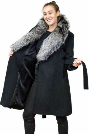 Alpaca Coat with Detachable Fox Collar