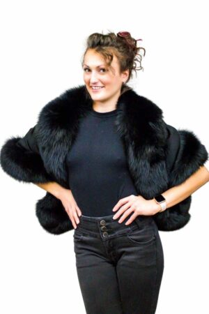 Cashmere Cape with Fox Fur Trim