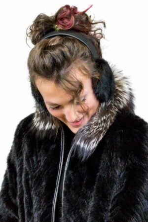 Mink Earmuffs lined with Sheared Beaver