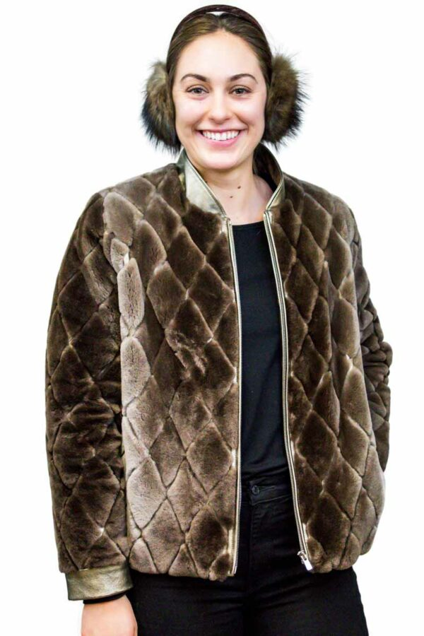 Sheared Beaver Jacket with Gold Leather