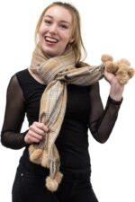 Cashmere Scarf with Fur Pom Poms