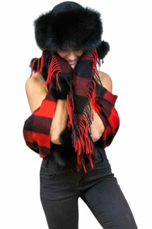 Rob Roy Lambswool Stole with Fox Fur Pom Poms