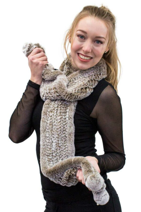 Knitted Rex Rabbit Scarf with Pom Poms