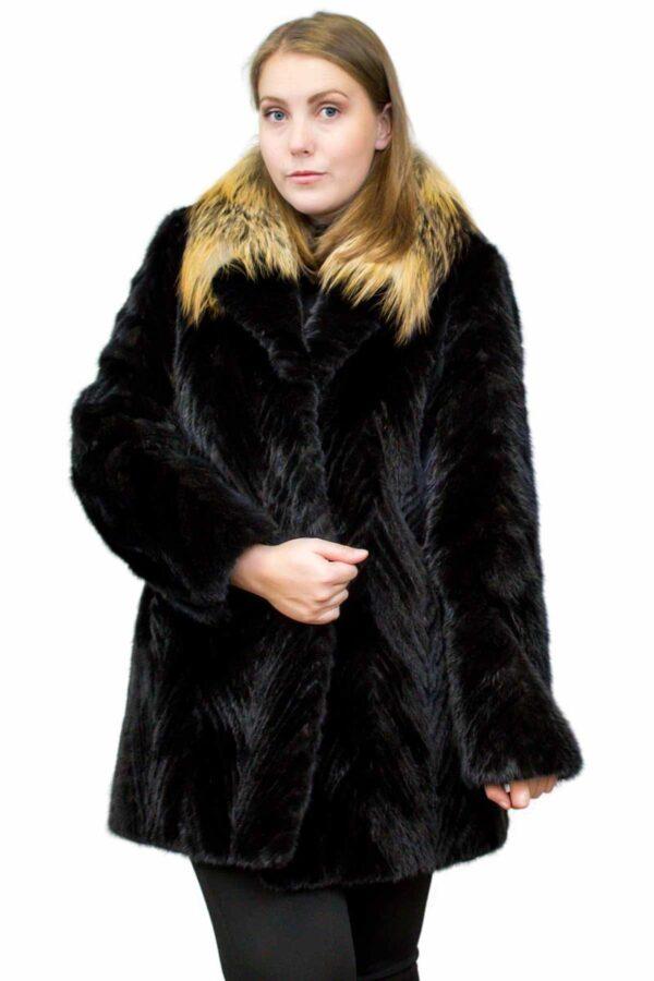 Mink Tail Stroller with Fox Fur Collar