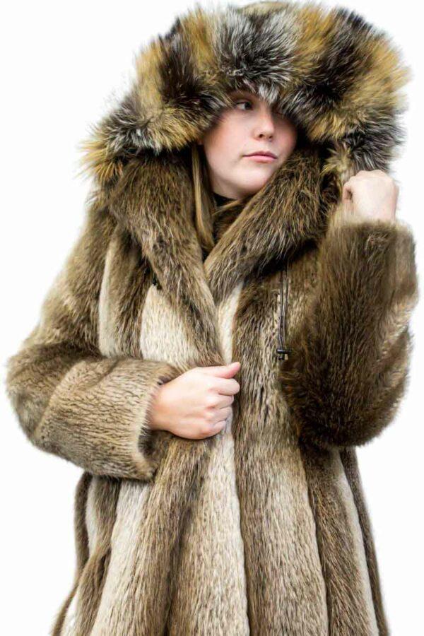 Beaver Coat with Fox Fur Trim