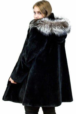 Sheared Beaver Coat with Fox Fur