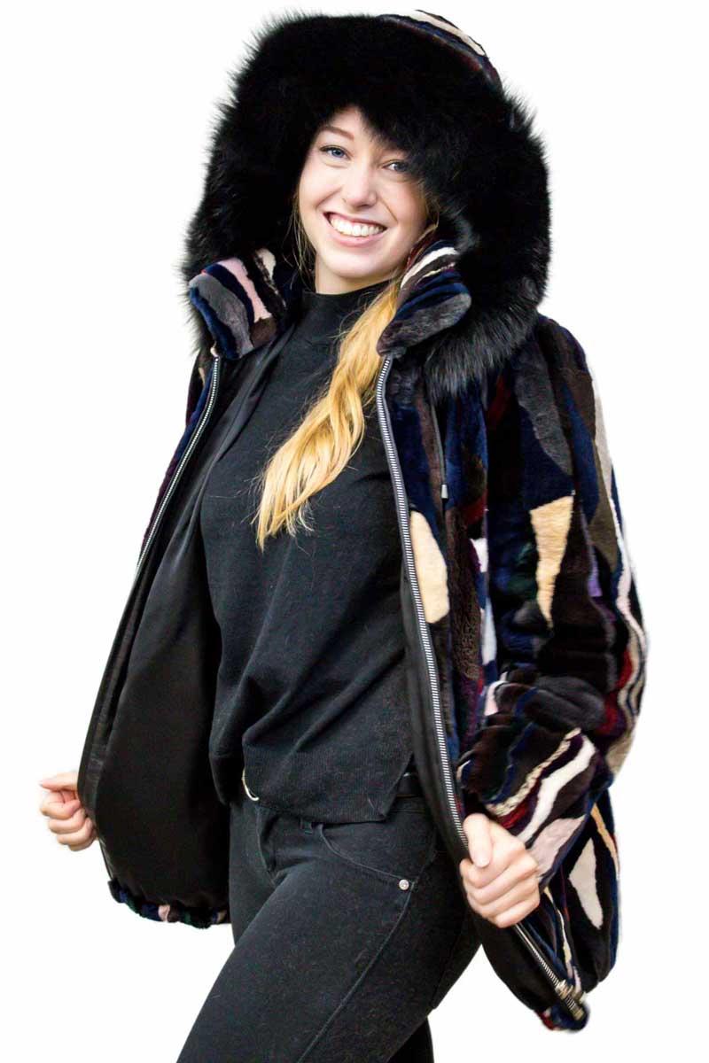 Multicolored Sheared Beaver Jacket
