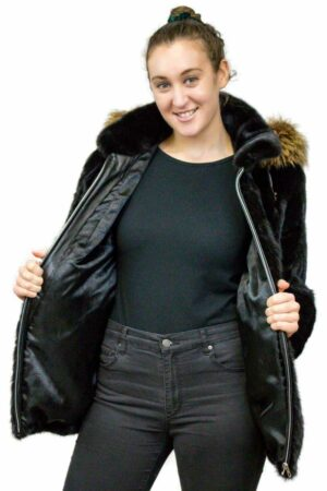 Mink Tail Jacket with Detachable Fox Fur Hood
