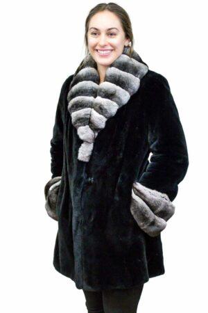Sheared Beaver Jacket with Chinchilla