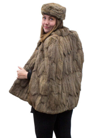 Vintage Squirrel Fur Cape with Matching Hat