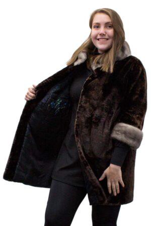 Alaska Seal Jacket with Sapphire Mink Trim
