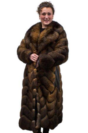 Vintage Opossum Coat with Leather Chevron