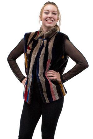 Vintage Multicolored Sheared Beaver Vest